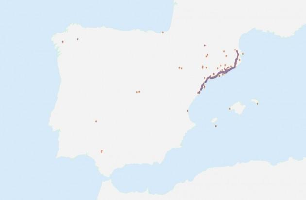Mapa mostrando tuits similares en toda España, entre las 15:00 y las 17:00 del 11 de septiembre / IFISC