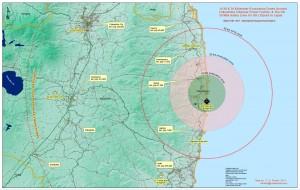 Ubicación de la central, la ciudad de Fukushima y la zona de evacuación. /