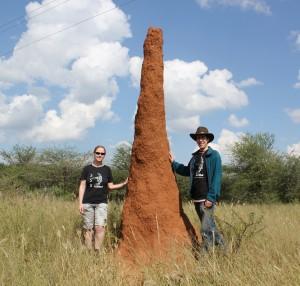 Dos de los creadores de TERMES junto a la chimenea de un nido de las termitas que les han inspirado. / Self-Organizing Systems Research Group, Harvard SEAS